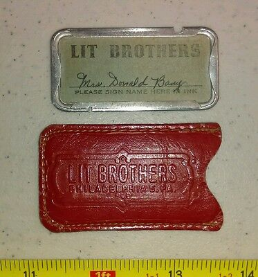 Vintage LIT Brothers Philadelphia Charge Plate with Case Rare