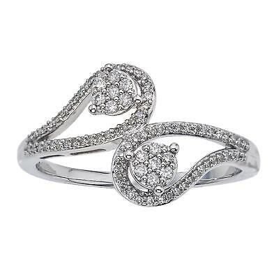 Sterling Silver 1/5ct TDW Diamond Two-stone Promise Ring