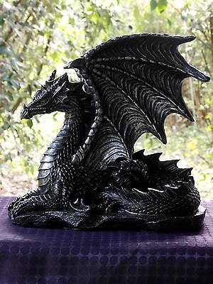 25Cm Black/ Silver Sitting Dragon Statue - New Fantasy/gothic Giftware