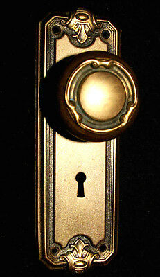 Victorian Brass-Tone Backplate & Metal Door Knob
