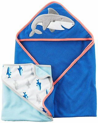 Carters Soft Terry Cloth Hooded Baby Boys Bath Towels Assorted One Size 2 pack