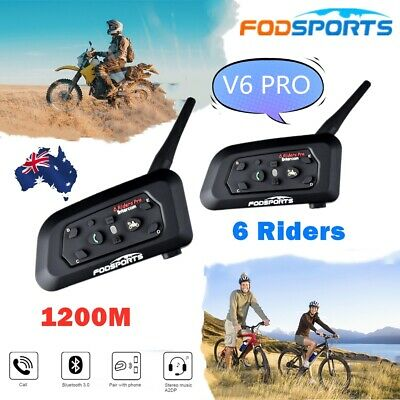 2x V6 Motorcycle Interphone Intercom Bluetooth Helmet Headset Communicator 1200m