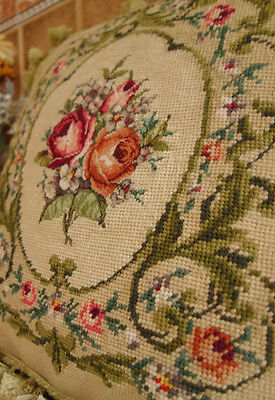 "16"" Antique Vintage Victorian Rose Scroll Gorgeous Handmade Needlepoint Pillow"