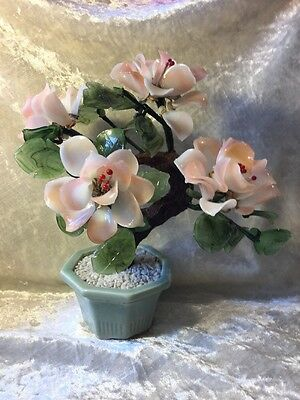 Vintage Antique Pink Milk Glass Jade Old Ornamental BONSAI Collectable Unique