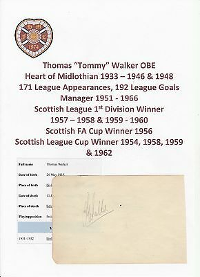Tommy Walker Heart Of Midlothian 1933-46 & 48 Very Rare Original Signed Cutting