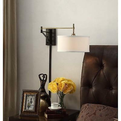 Antique Brass and Bronze Swing Arm Wall Sconce Fixture