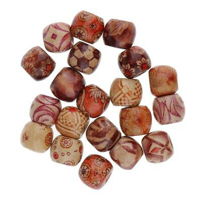Wooden Dreadlock Beads Pack of 20 Dread Hair Braid for Hairstyle DIY Design