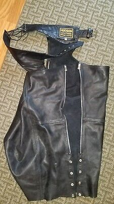 Hudson Leather~Mens Chaps~Black Leather~Size Medium M Motorcycle Biker