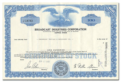 Broadcast Industries Corporation Stock Certificate