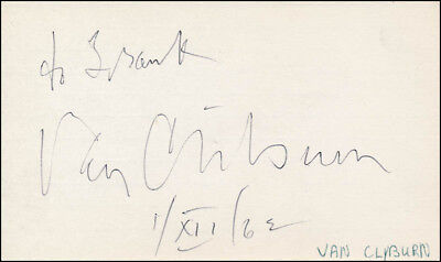 Van Cliburn - Inscribed Signature 12/01/1963