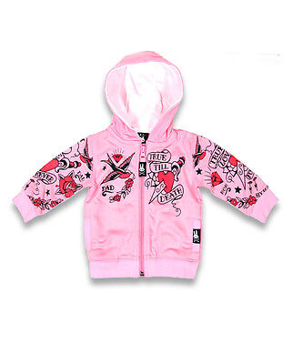 Six Bunnies Tattoo Flash Pink Baby True Love Hoodie Jacket Punk Biker Rock New