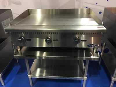 "New 36"" Flat Griddle Manual Ctl With Stainless Equipment Stand Package Deal Gas"