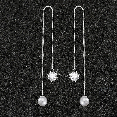 925 Sterling Silver Ear Needle Zircon Pearl Dangle Long Line Threader Earrings