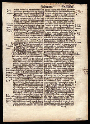 1514  New Testament Bible Leaf John 14-16 3 Historiated Letters Annotations