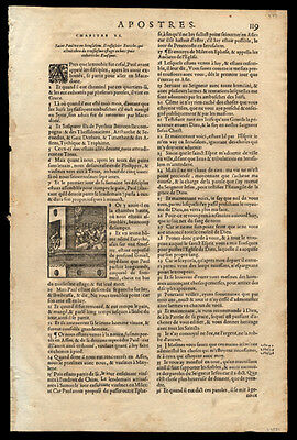 New Testament 1581 French Bible Leaf Acts of The Apostles Eutychus & St Paul