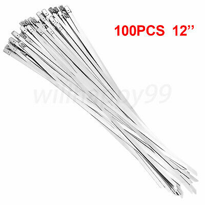 100 x Metal Self Locking Stainless Steel Cable Zip Ties Wire Wrap Exhaust Straps
