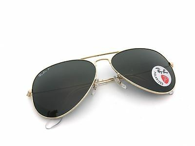 Ray-Ban Polarized Aviator Gold Frame Green Classic G-15 Lens RB3025 001/58 58MM