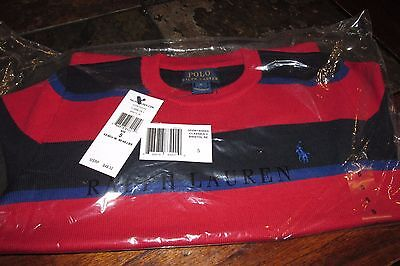 Nwt Ralph Lauren Polo Boys Size 5 Red/blue Striped Crew Neck Sweater