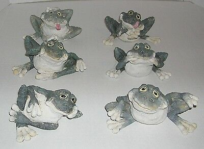 (6) Cute Funny Frogs Yard Home Lawn Porch Garden Outdoor Sculpture Statue Decor