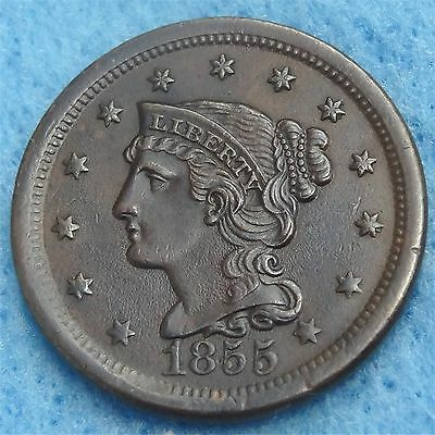US 1855 Large Cent Copper Coin w/ Braided Hair Circulated with XF-AU Details