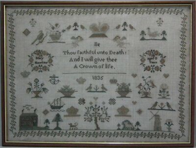 Antique Sampler, 1835, by Mary Hawkins