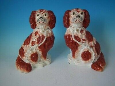 Pair Staffordshire Russet and White 'Chunky' Spaniels