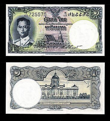 Thailand Banknote 1 Bath King Rama Ix. #t455 - 725575. About Very Ef