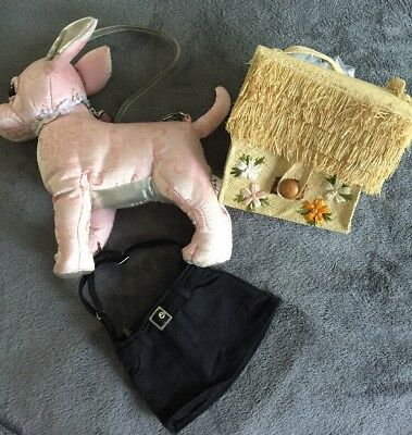 Vintage Straw Woven Purse Puppy pocketbook kids child house flowers Lot 3