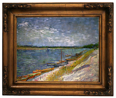 van Gogh View of a River with Rowing Boats Wood Framed Canvas Print Repro 11x14
