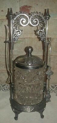 Vintage Victorian Wilcox quad Silver Plated Pickle Castor with Tongs and Fork