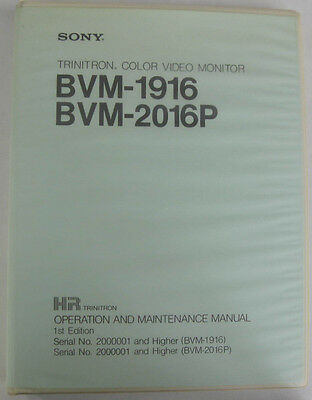 Service Manual For Sony BVM-1916 And BVM-2016P Color Video Monitors