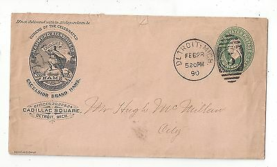 United States 1890 Postal Stationery Cover, Illustrated Ham Ad