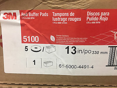 "(5) 3M 13"" Red Buffer BUFF FLOOR Pads 5100 discs janitorial cleaning discs"