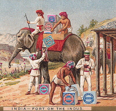 Elephant India Fort on Indus Huntley & Palmer Biscuit Victorian Advertising Card