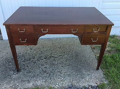 Vintage Antique Style Mahogany Writing Table Desk w Dovetail Drawer