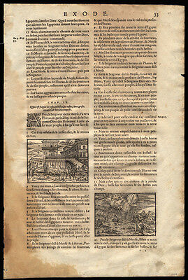 French Bible Leaf Old Testament Exodus 10-11  3 Woodcuts Depict Plagues of Egypt
