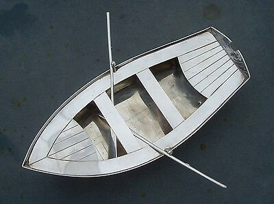 Unusual Spanish Solid Silver Model Of A Rowing Boat With Oars!