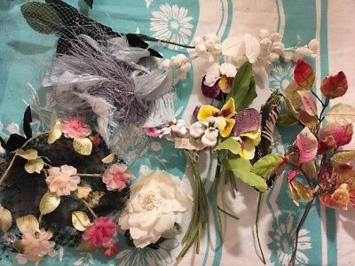 Vintage Velvet Millinery Flowers Hats OSTRICH FEATHERS OLD PINK ROSES RIBBON LOT
