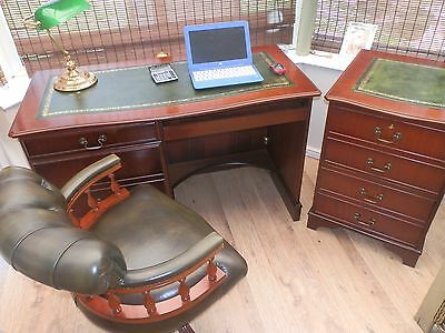 Reproduction Antique Style Leather Top Desk, with matching filing cabinet & Ches