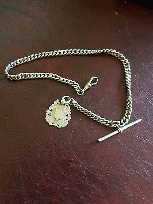 antique solid silver albert chain and fob