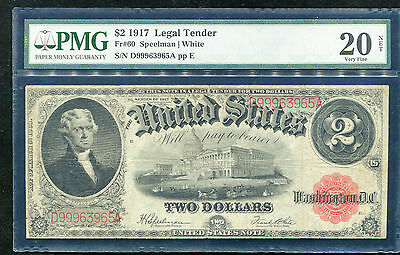 Fr. 60 1917 $2 Legal Tender United States Note Pmg Very Fine-20