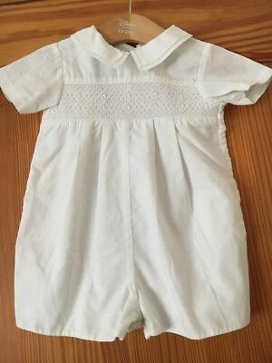 Petite Ami Baby Boy's Short Sleeve Romper Suit White Age 0-6 Months