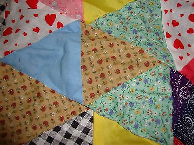 Vintage Cotton Handmade Triangle Quilt Top