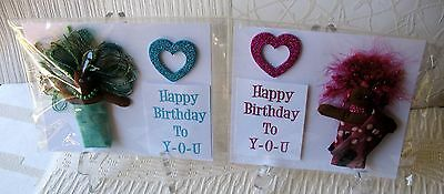 Two Unique Art Doll Birthday Cards~Linda Lee Taylor Designs FREE SHIPPING D15