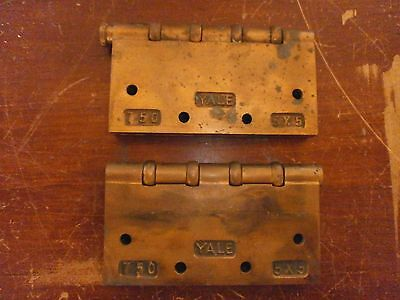 "YALE Lot of 2 Large 5"" x 5 Brass Hinges - Heavy Vintage Antique Metal FREE SHIP"