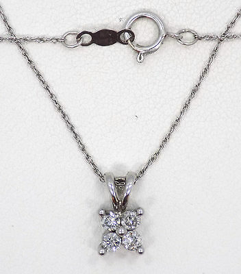 14k Solid White Gold Four Diamond Pendant Necklace ~ 18 Inches ~ 1.5 Grams