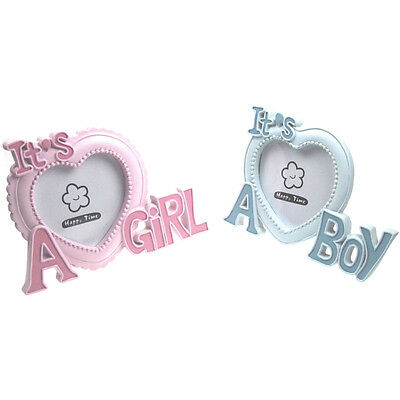 New Baby Boy Girl Pink or Sky Blue Heart Shaped Photo Frame Gift by Soft Touch
