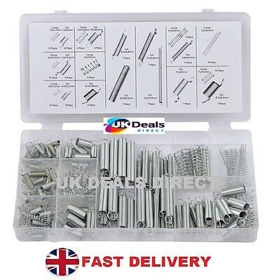 150pc Springs Extension Tension Compression Extended Compressed Assorted +Case