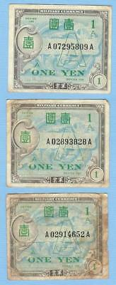 Allied Military Currency for Japan--Lot of Three 1 Yen Banknotes Money