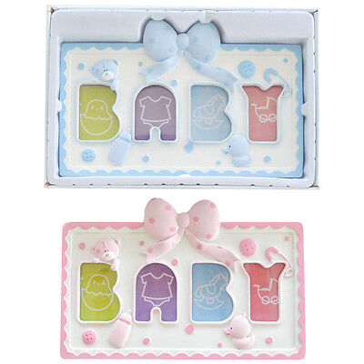 New Baby Boy Girl Pink or Sky Blue 4 Aperture Photo Frame Gift by Soft Touch